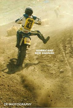 "WHAT IT'S LIKE TO RIDE BEHIND THE WILD MAN OF MOTOCROSS, BOB ""HURRICANE"" HANNAH ..... DODGE THE ROCKS AND EAT SOME DIRT !"