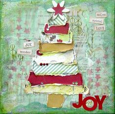 New Diy Christmas Canvas Art Mixed Media Ideas Christmas Tree Canvas, Christmas Collage, Christmas Mix, Christmas Projects, Holiday Crafts, Christmas Ideas, Christmas Inspiration, Christmas Journal, Christmas Printables