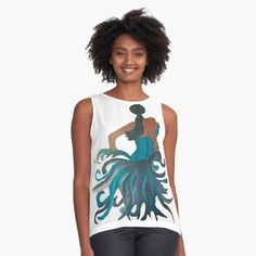 Womens Sleeveless Tops, Dancer, Chiffon, Teal, Tank Tops, Fabric, Black, Dresses, Fashion
