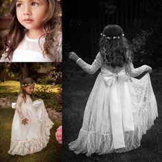 Boho Chic Long Sleeve Flower Girls' Dresses For Little Baby Girls 2015 Cheap Lace Sheer Crew Neck Backless Bow Knot Long Bridal Party Gowns, $71.05 | DHgate.com