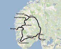 Ruta por Noruega. Itinerario de un viaje por los fiordos noruegos en coche. Consejos para dormir barato en Noruega.