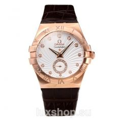 Omega Constellation Rose Gold Case with White Dial Leather Strap
