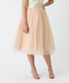Another great find on #zulily! London Gray Champagne Tulle A-Line Skirt by London Gray #zulilyfinds