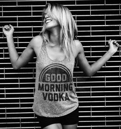 Goooood morning  - xoxo vodka. Click to see this and other fun shirts from Buy Me Brunch.