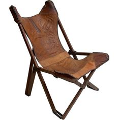 leather folding chair.