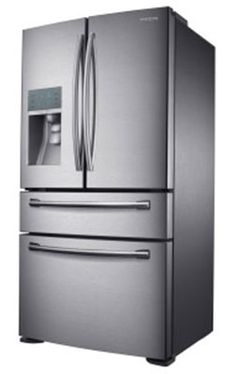 """Samsung's """"new French"""" refrigerator with six compartments and drawers. Now they have reached Sweden. We poor peasants only need to pay about 3600 EUR - to be overjoyed owners."""