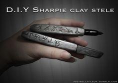 Warrior Beloved, DIY Sharpie clay stele. For premieres, cosplay,...