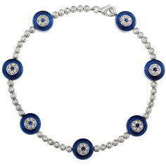 14kt White Gold Evil Eye Diamond Bracelet With Dark Blue Glass ($1,795) ❤ liked on Polyvore