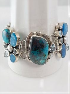 Turquoise and Druzy Bracelet, sterling silver – Summer Indigo