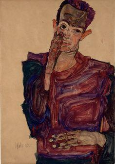 Egon Schiele | Selbstbildnis mit herabgezogenem Augenlid - Self-Portrait with Hand to Cheek | 1910 | © Albertina, Wien