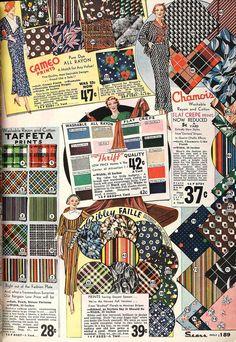 Rayon fabrics in the Sears catalogue, 1934