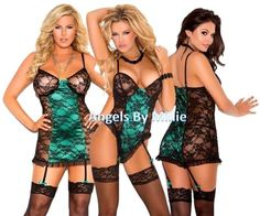 Green Lace Lingerie Sexy Women Black Floral Chemise Teddiette Teddy Bodysuit #ElegantMoment #Sexy #Everyday