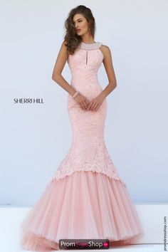 Sherri Hill Long Beaded Pageant Pink Dress 50112