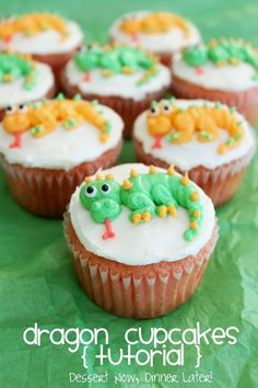 Dragon Cupcakes Tutorial - these cupcakes are simple & fun for any little boy's birthday party. Step-by-step photos with detailed instructions included from DessertNowDinnerLater.com
