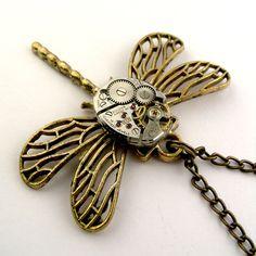 Dragonfly Necklace Antique Bronze Bulova Watch Insect Pendant ( Bulova mechanical watch movement )