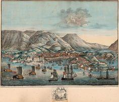 Bergen from søesiden Losting pinx. Lith, af Prahl. Lithograph. Håndkolorert. Bergen. 1832