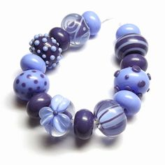 Lampwork glass 'Bluebell' beads by Laura Sparling