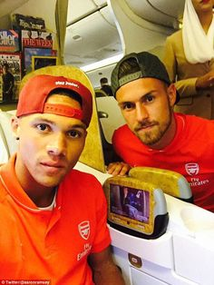 Aaron Ramsey posted a picture on Twitter of him and Kieran Gibbs preparing for the flight ...