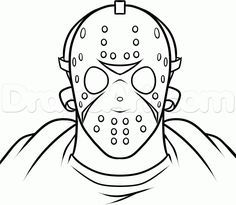 How To Draw Jason Voorhees Easy Step 6 Jason Drawing Jason Voorhees Drawing Coloring Book Art
