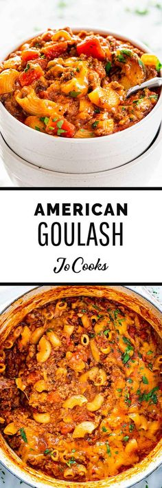 American Goulash - One of the original classic one-pot meals! Loaded with beef and macaroni noodles, cooked to tender perfection in a rich tomatoey sauce. Hamburger Dishes, Beef Dishes, Pasta Dishes, Food Dishes, Pasta Recipes, Cooking Recipes, Healthy Recipes, Top Recipes, Lunches