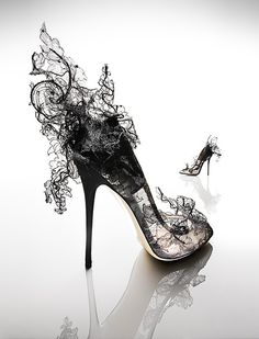 Black lace avant garde shoes- they look like smoke! So cool.