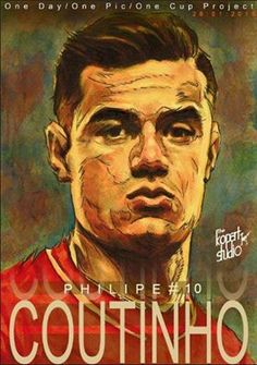 Project: 1Day,1Pic,1Club, player number 10 Philippe Coutinho, 28/01/2016.#Liverpool#The Kop Arts Studio.