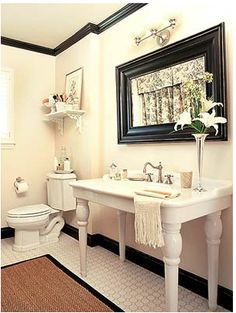 I like the pottery barn sink and the black molding and the mirror!