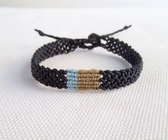 Items similar to Men's macrame bracelet black with beige and light blue Jewelry Gifts, Handmade Jewelry, Unique Jewelry, Handmade Gifts, Jewellery, Macrame Bracelets, Gifts For Him, Light Blue, Beige