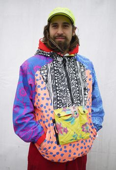 Taking colour blocking to the extreme with this 1980's inspired juxtaposed and pattern clash retro ski jacket taken at Freeze Festival 2012. WGSN