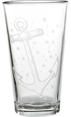 Anchor Tattoo Pint Glass Etch by Sourpuss Clothing