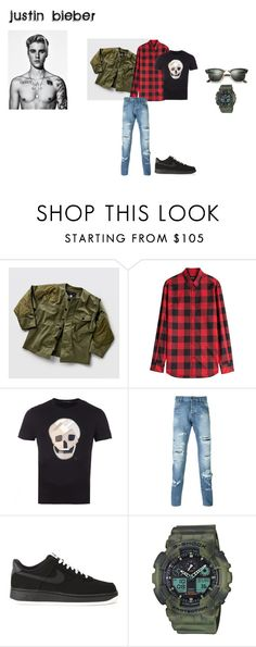 """""""outfit 2"""" by mazzagliadavide on Polyvore featuring G-Star Raw, Dsquared2, Alexander McQueen, Dolce&Gabbana, NIKE, G-Shock, Ray-Ban, men's fashion e menswear"""