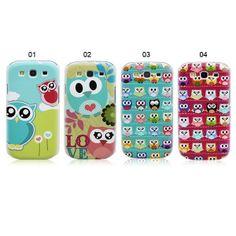 Cute Owl Pattern Samsung S3 Plastic Back Case for Samsung GALAXY S III i9300 / S4 i9500 / S4 mini i9190