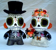 Custom Day of the Dead Wedding Munny cake topper  for Rachel P.