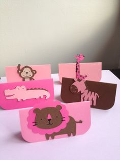 12 Sets Pink and Brown Jungle Treat Bag TOPPERS, favor bags, hot pink, gift tags, zoo party, baby shower, birthday. $16.50, via Etsy.