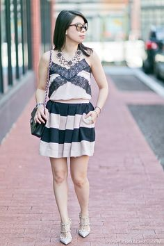 #Summer Romance #OOTD in Black & Blush Lace Cami + Bold Striped Skirt