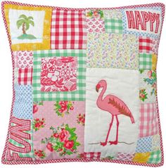 Large Flamingo Patchwork Cushion Cover 50x50 by Room Seven