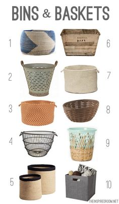 10 Favorite Bins and Baskets. Click over for sources! ( gathered up by @Courtney Lane )