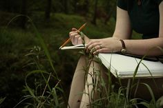 The pencil's wrong, and she's actually in the woods, but other than that, this is perfect for Jen at the beginning of the book.