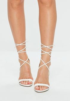 White Lace Up Barely There Heels White Strappy Heels, Tie Up Heels, Homecoming Heels, Prom Heels, Baskets, Schuster, Embellished Sandals, Fashion Heels, Missguided