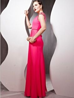 A-line Bateau Beading Short Floor-length Chiffon Evening Dresses