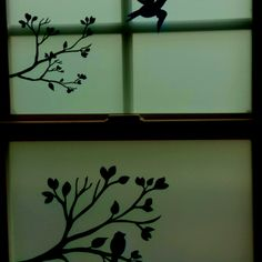 Window decals on frosted glass