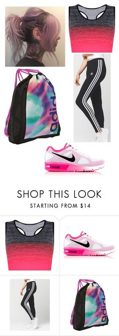 """Untitled #149"" by rimante-yolo ❤ liked on Polyvore featuring Boohoo, NIKE, adidas, cute, Pink, sport and girl"