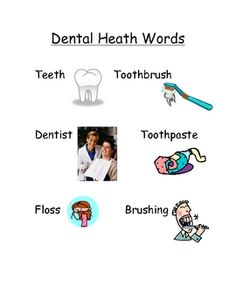 I made this to go along with my unit on teeth. I had it posted in my writing center. Dental Health, Dental Care, Health Words, Health Unit, School Health, Health And Nutrition, Classroom Ideas, Teeth, February