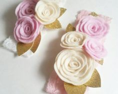 Felt Flower Crown // Pink Peach Tan // by fancyfreefinery on Etsy