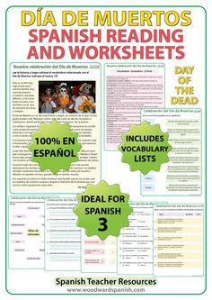 Spanish Reading Passage about Día de Muertos with comprehension questions and vocabulary. Lectura original acerca del Día de Muertos con preguntas de comprensión y vocabulario.
