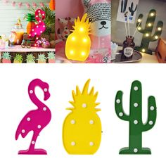 Flamingo Pineapple Cactus LED Night Lamp Lights For Party Wedding Decor Gifts