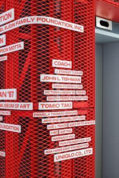 Parsons School of Design Donor Wall — Pentagram Environmental Graphic Design, Environmental Graphics, Wayfinding Signage, Signage Design, Donor Wall, Sign System, Parsons School Of Design, Poster S, Retail Design