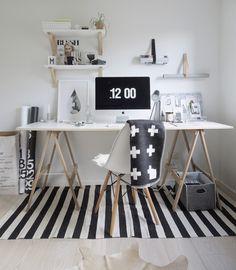 interior * office * workplace * black&white * wood * shelves * stripes * crosses * eames * merci paper bag