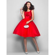 Ball Gown V-neck Knee-length Satin And Tulle Cocktail/Prom Dress (699381) – USD $ 79.29