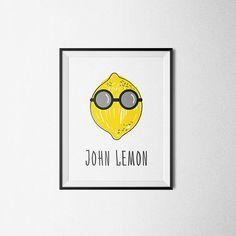 John Lemon. Joke art, Fun Poster, John Lennon, kitchen wall art, home decor, The Beatles, Lennon parody, Printable Art Kitchen, Hand Drawn.